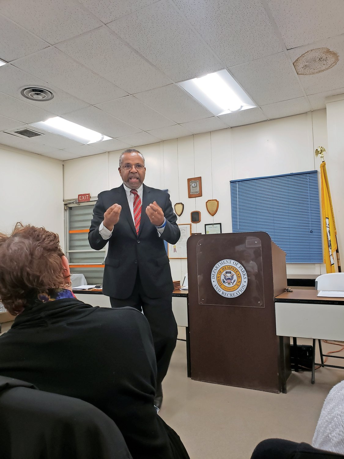 Civil rights attorney and Lakeview native Fred Brewington was the guest speaker at a joint meeting between the Lakeview and Rockville Centre Democratic clubs on May 9.