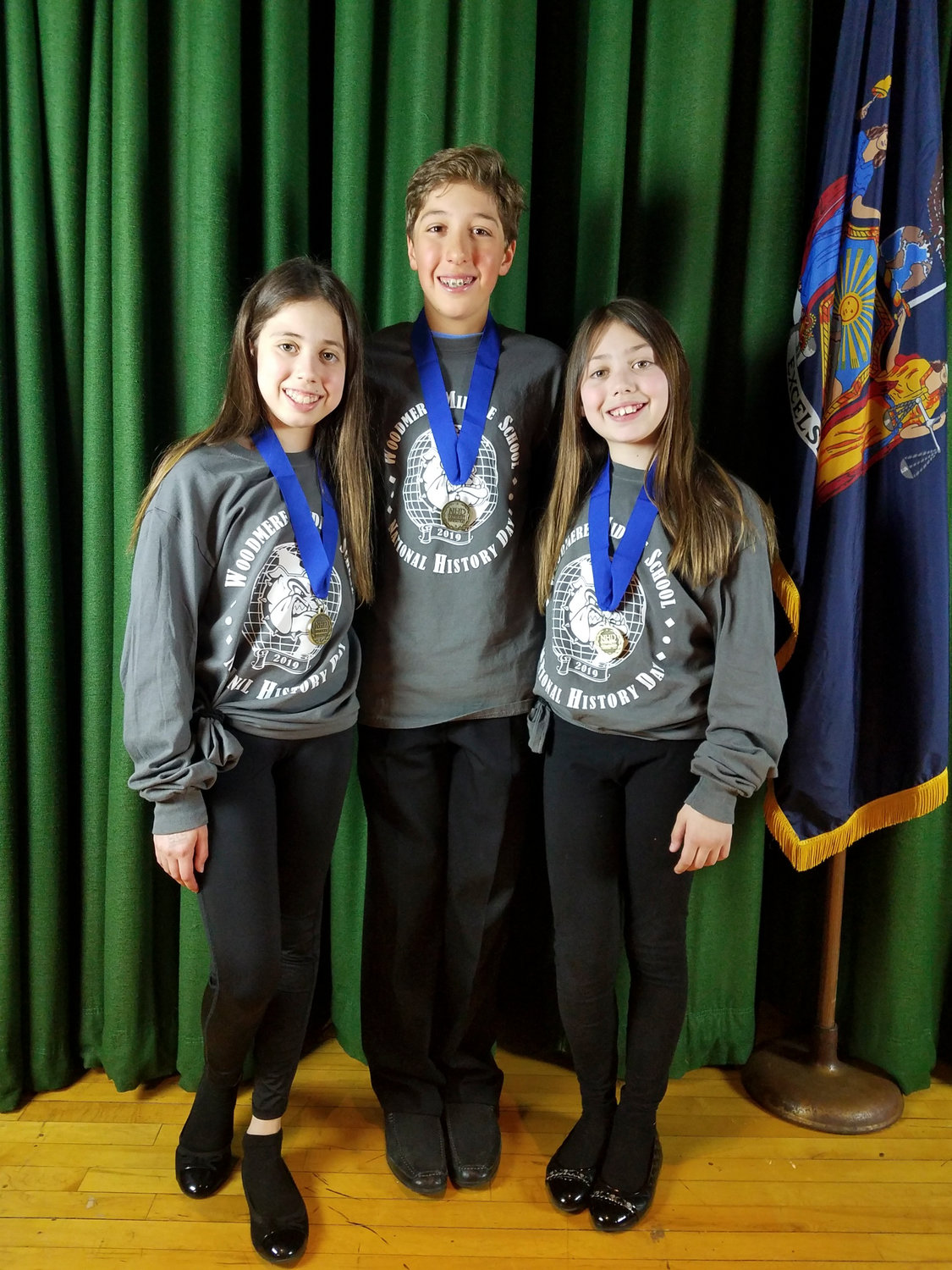 Woodmere Middle School students Sidney Honig, Michael Heyman and Harley Honig advanced to the national level of the History Day competition.