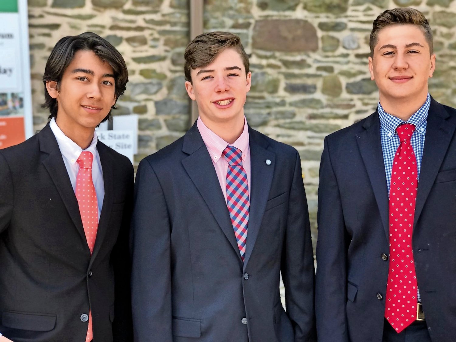 Eight-grade students Christian Holden, Nicholas La Rosa and Michael Granelli will advance to the National History Day competition in College Park, Md., next month.
