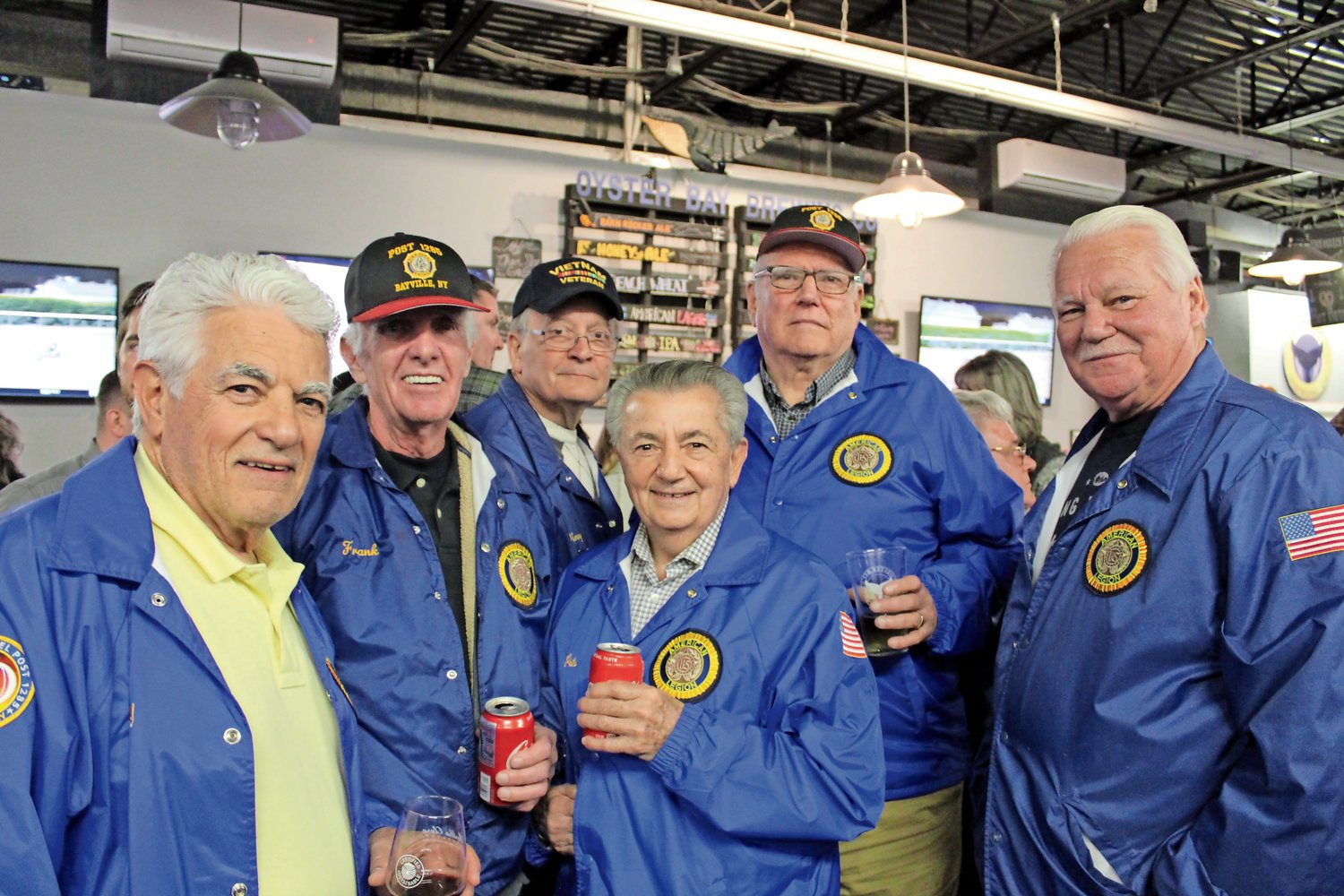 Members of the Robert H. Spittel American Legion Post 1285, in Bayville: Tony Bruno, left, Frank Herlihy, Vinnie Libertini, Pete Carbone, Fred Uhl and John Schaefer attended the fundraiser to honor Cpl. Robert Hendriks.