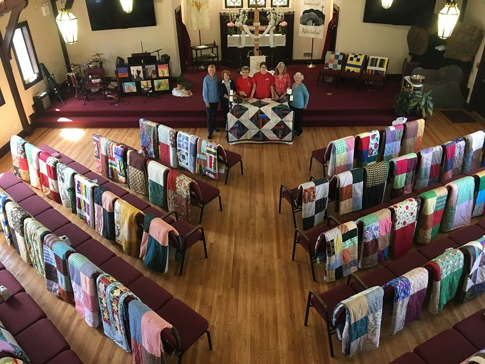 Parishioners at Oceanside Lutheran Church helped create 90 quilts out of donated fabric, which will be distributed around the world.