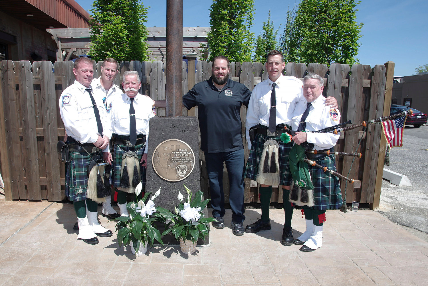 Members of the East Meadow Fire Department, FDNY and the FDNY Emerald Society Pipes and Drums were there for the May 11 dedication.
