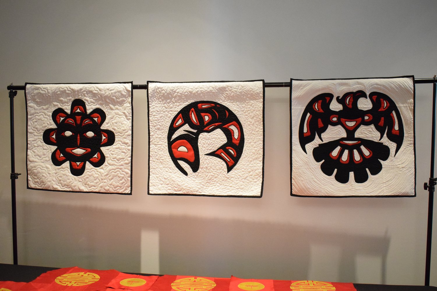 William Daniel put together these three pieces from his totem animal series to display at the Elmont Art Gallery.