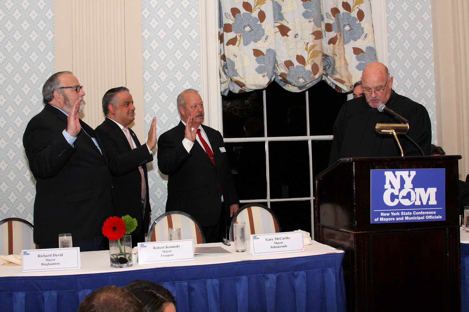 Mayor Robert Kennedy, third from left, was elected and sworn in as the president of the New York Conference of Mayors on May 6. Also sworn in as second vice president was Rockville Centre Mayor Francis Murray, left, and Mayor from the City of Binghamton as the first vice president.