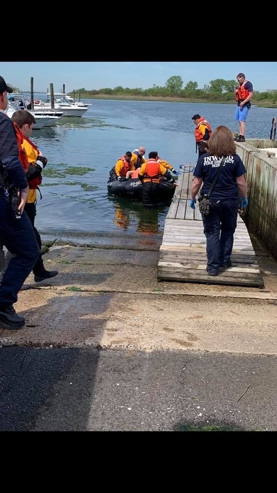 First responders from the Inwood, Lawrence-Cedarhurst and Meadowmere Park fire departments rescued an injured kayaker on May 18.