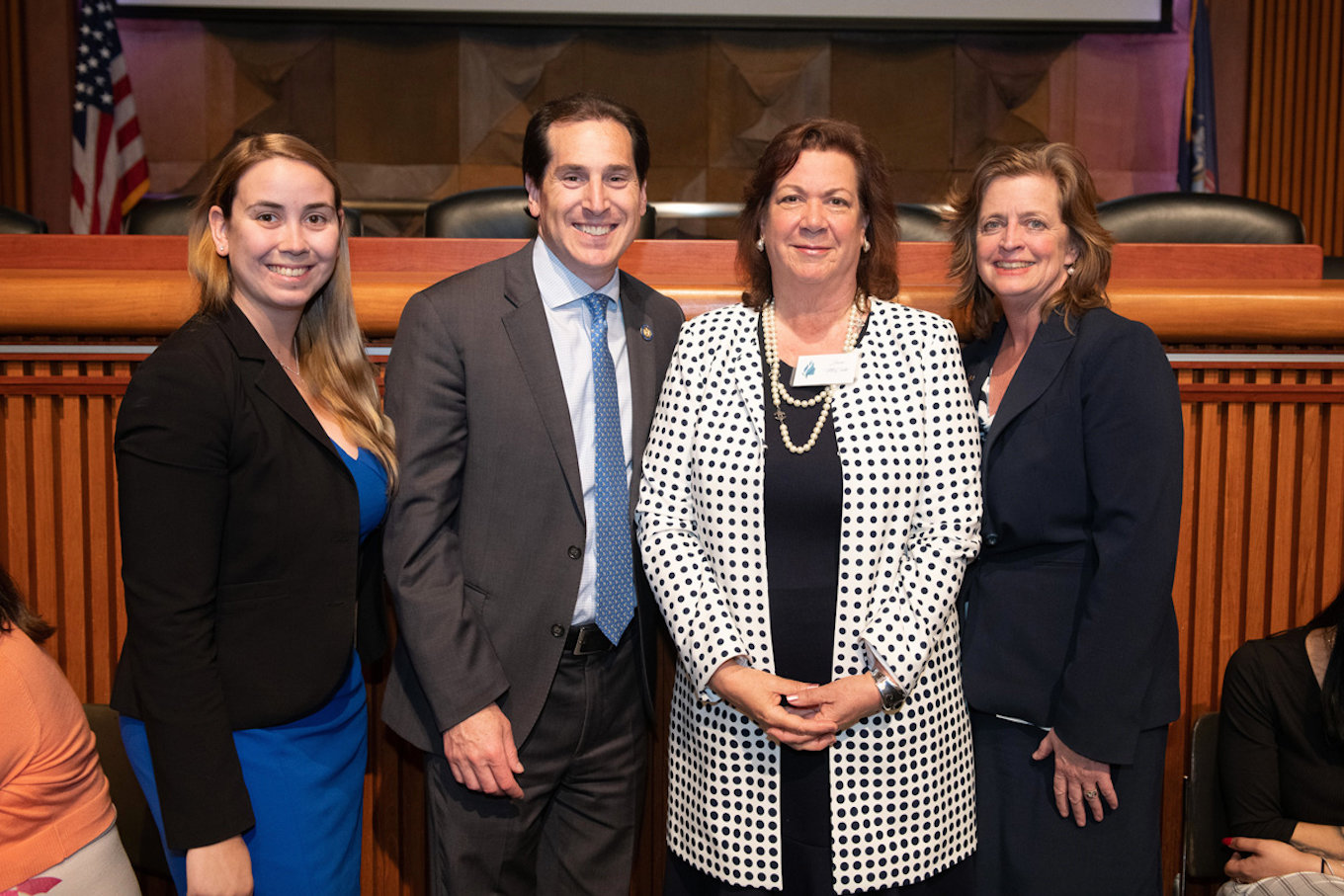Jane McCabe, second from right, was recently honored by State Sen. Todd Kaminsky. She was joined by Katherine McCabe, far left, and State Assemblywoman Judy Griffin.