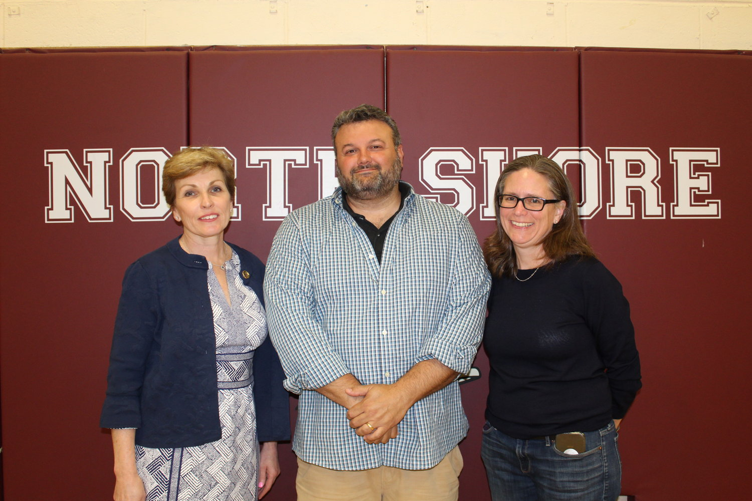 School board trustees Marianne Russo, left, David Ludmar and Sara Jones were re-elected to their seats Tuesday night.