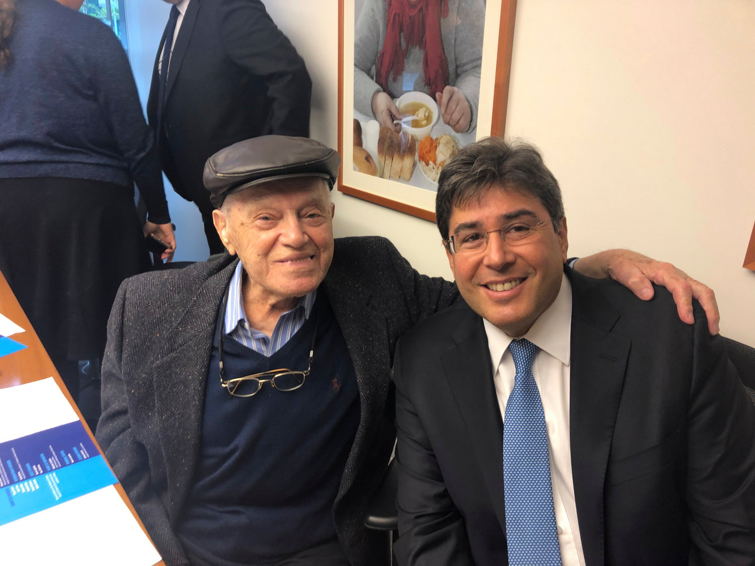 The UJA-Federation of New York's Yom HaShoah commemoration included stories from two Holocaust survivors and Gural JCC members, Bernie Igielski and Marvin Jacobs. CEO Eric Goldstein, right, with Jacobs.