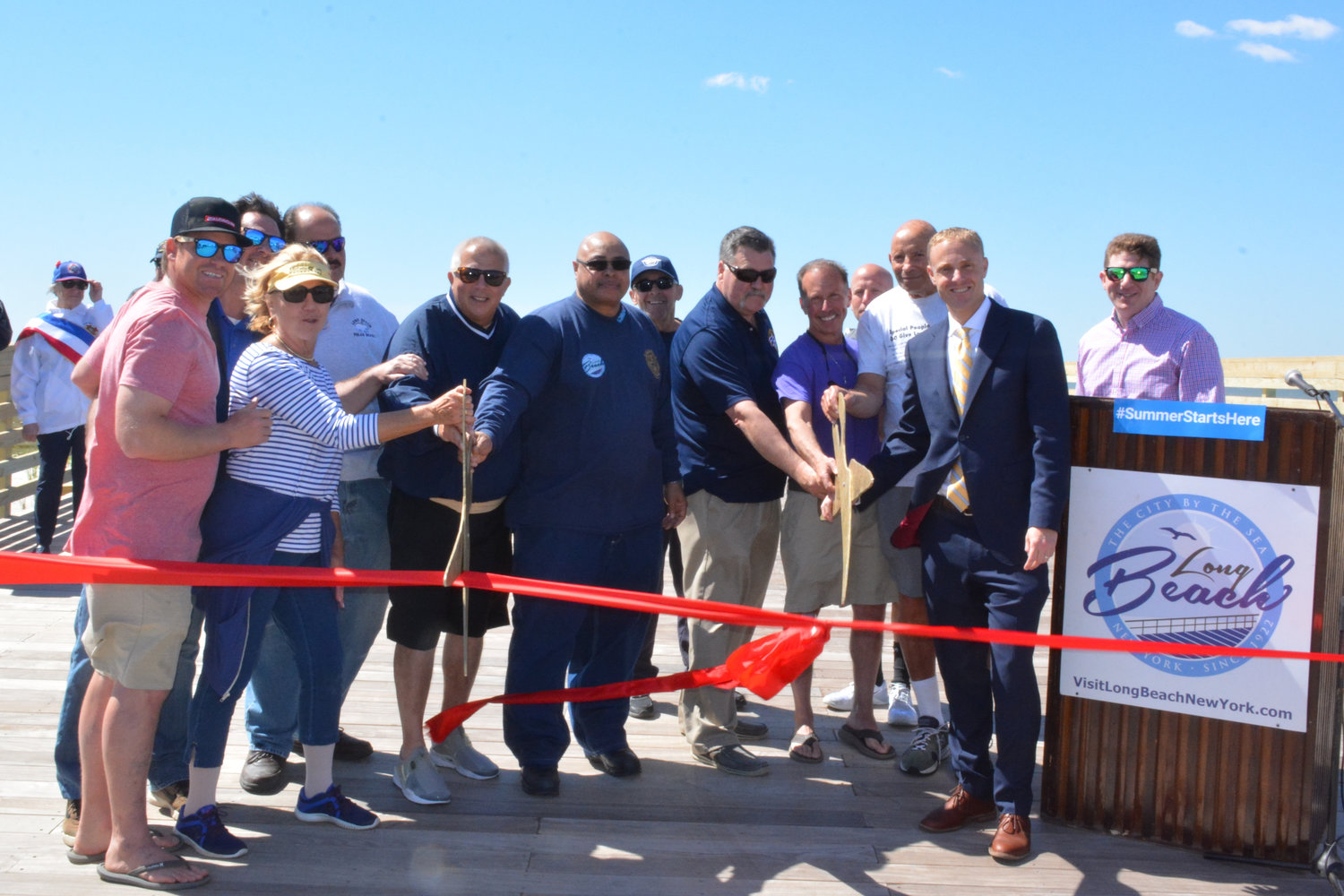 The city held a ribbon-cutting ceremony on the boardwalk Friday to mark the completion of the Army Corps of Engineers coastal protection project began in 2016.