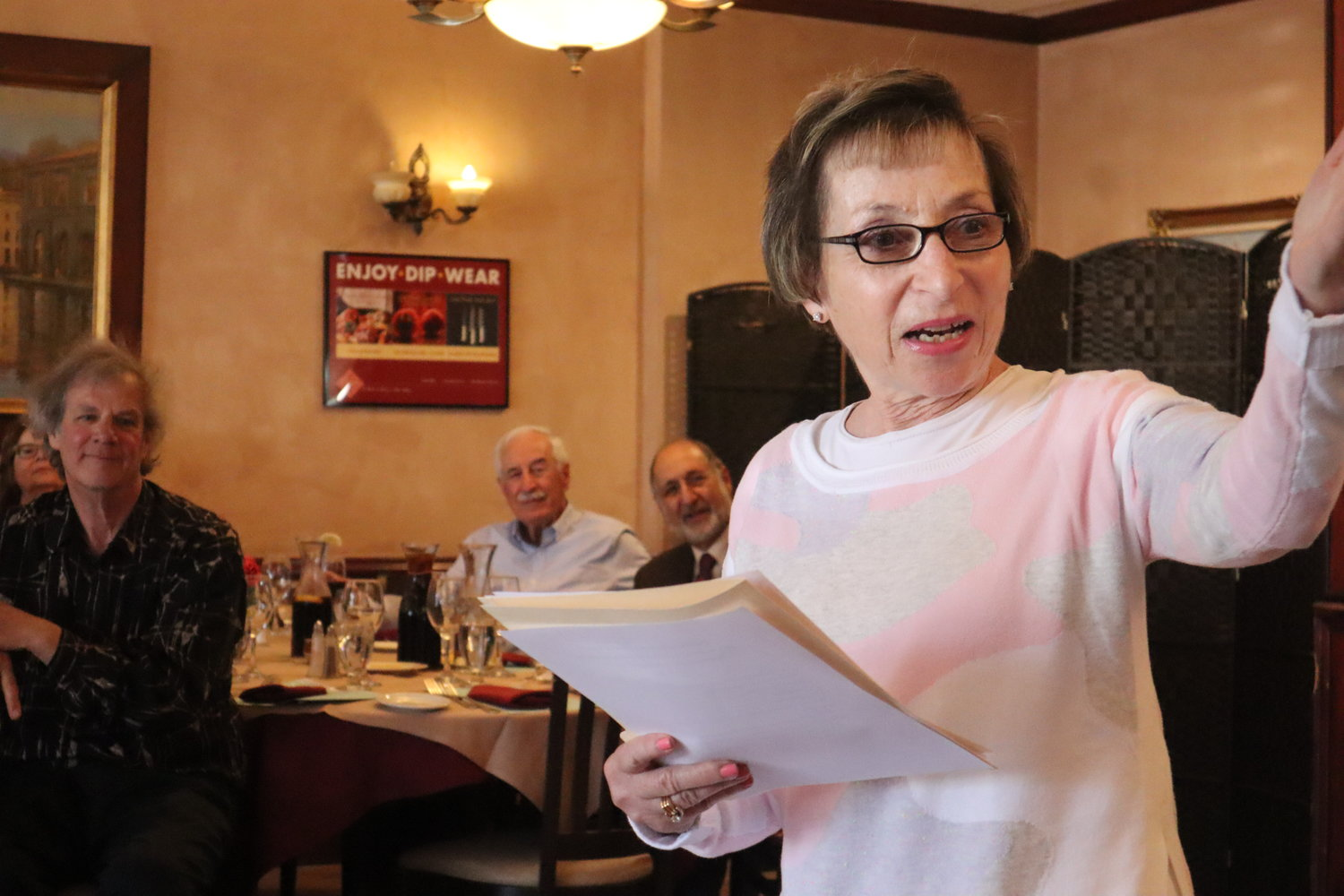 After 11 years as the BMRTA president, Sharon Wisla was re-elected to the position at the association's luncheon. The group met at Elisa's Ristorante, her favorite local eatery.