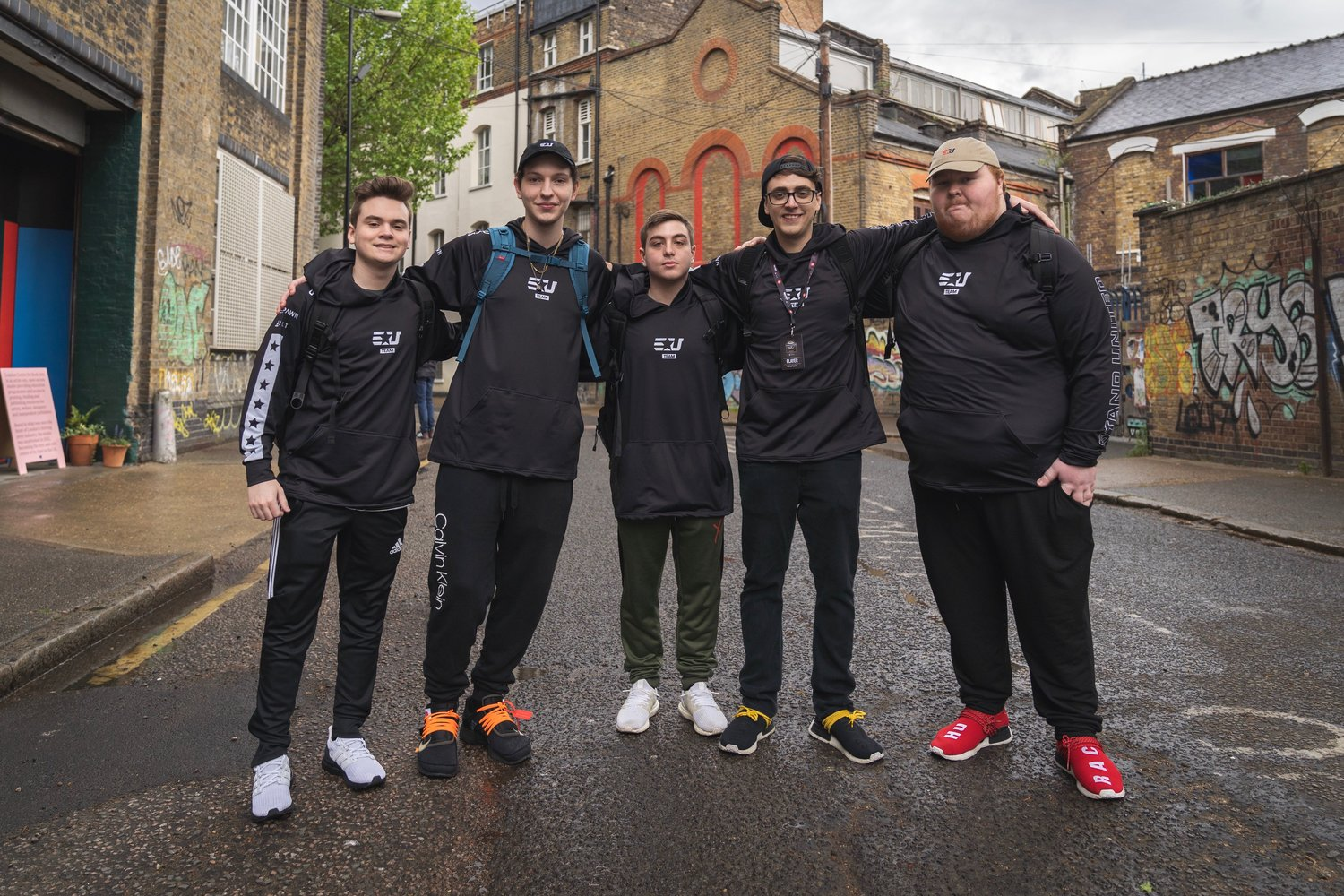 "Representing the eUnited Call of Duty team at a recent event were, from left, Tyler ""Abezy"" Pharos, Preston ""Prestinni"" Sanderson, Christopher ""Simp"" Lehr, James ""Clayster"" Eubanks, and Alec ""Arcitys"" Sanderson."