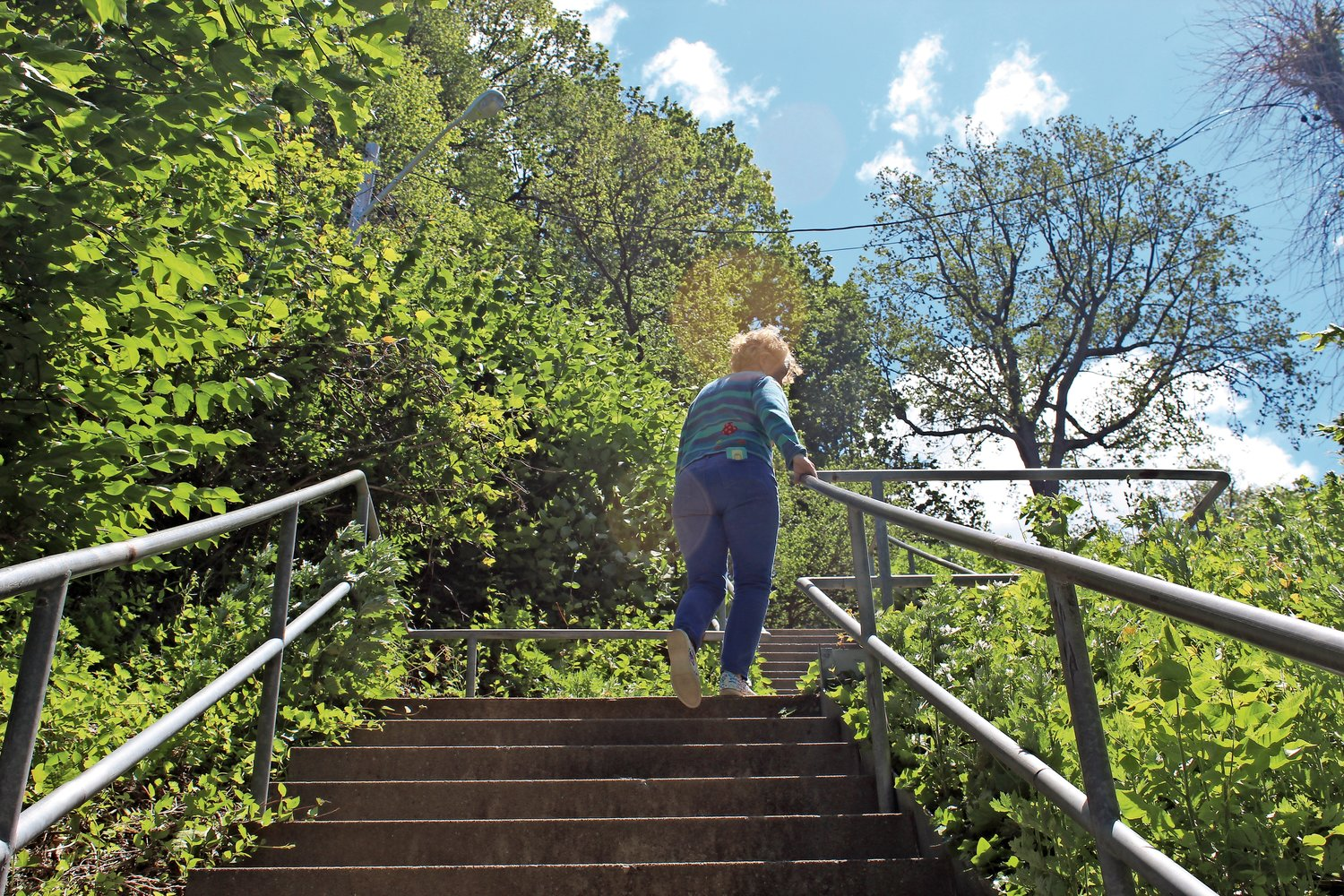 Guerci's walk includes a climb up Tilley Step's two-stories.