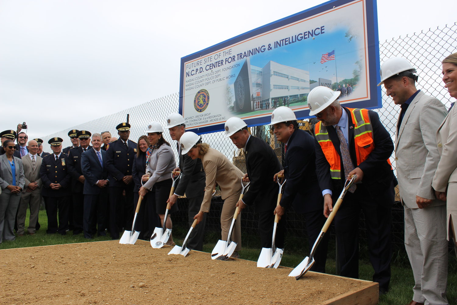 Officials celebrated the groundbreaking of the 89,000-square-foot Nassau County Training and Intelligence Center on the Nassau Community College campus in Garden City on May 29.