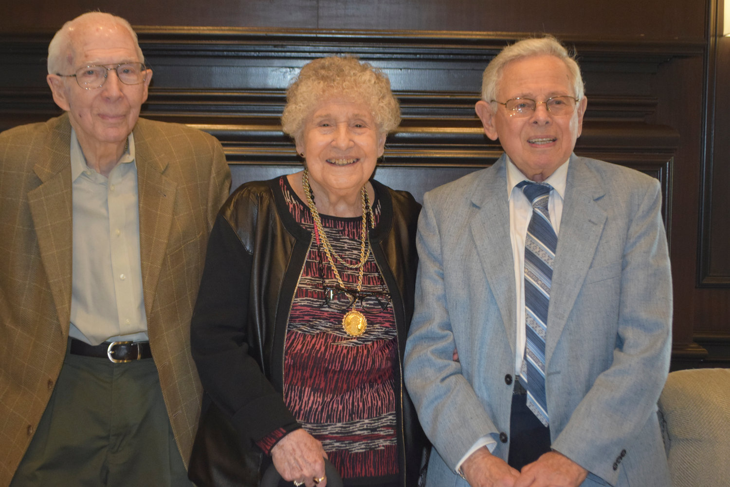 The Center for Adult Life Enrichment held its annual luncheon at the Seawane Country Club on May 15, and honored long-standing members: Don Newman, left, Claire Ganzfried and Stanley Brill.
