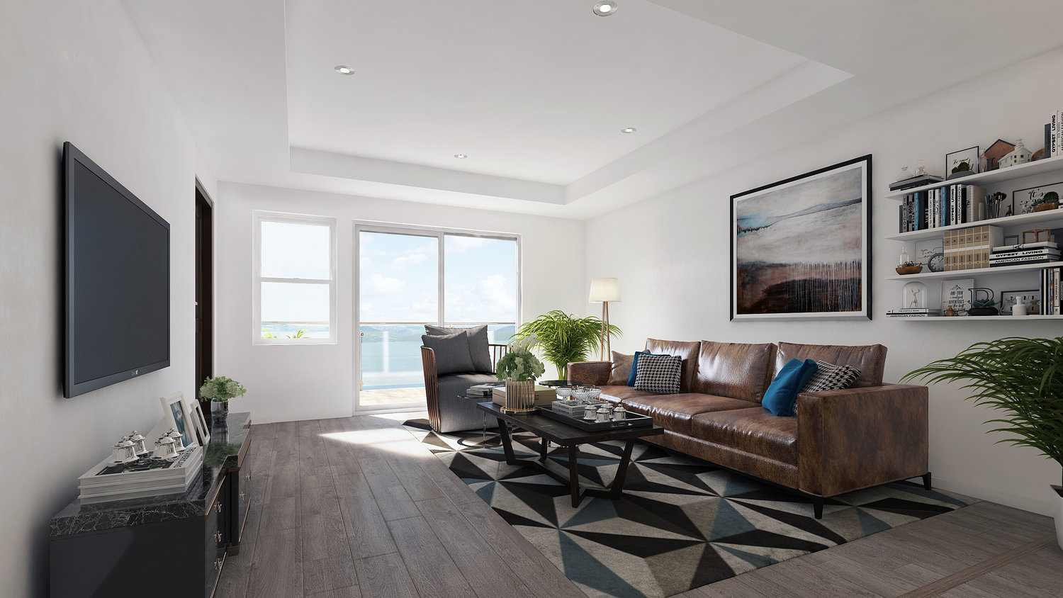 A rendering of the living room of one of the apartments.