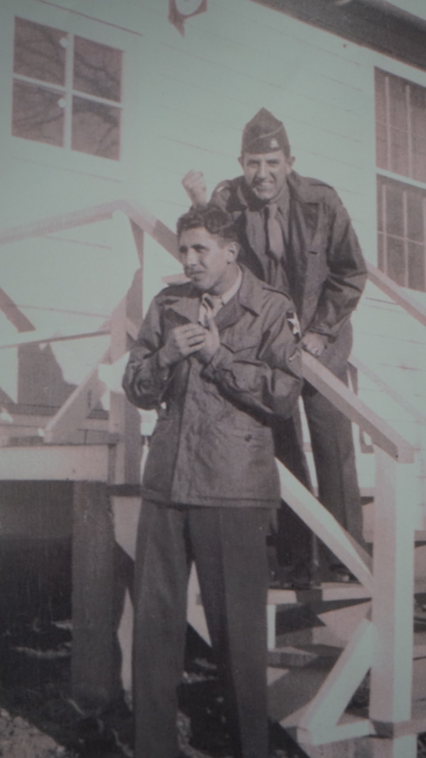Valley Streamer Louis Palermo, left, in 1945. He was one of two from Valley Stream known to have directly taken part in the D-Day invasion.