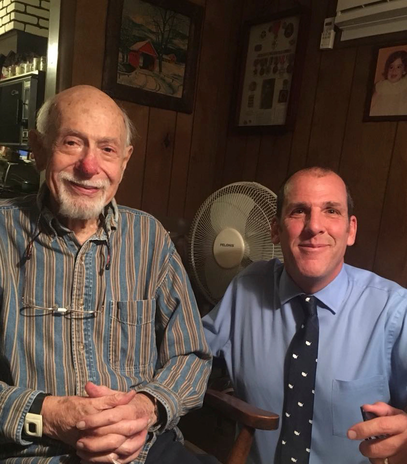 Cutler with amateur historian and Central High School social studies teacher Chris Critchley shorly before Cutler's death in 2018.