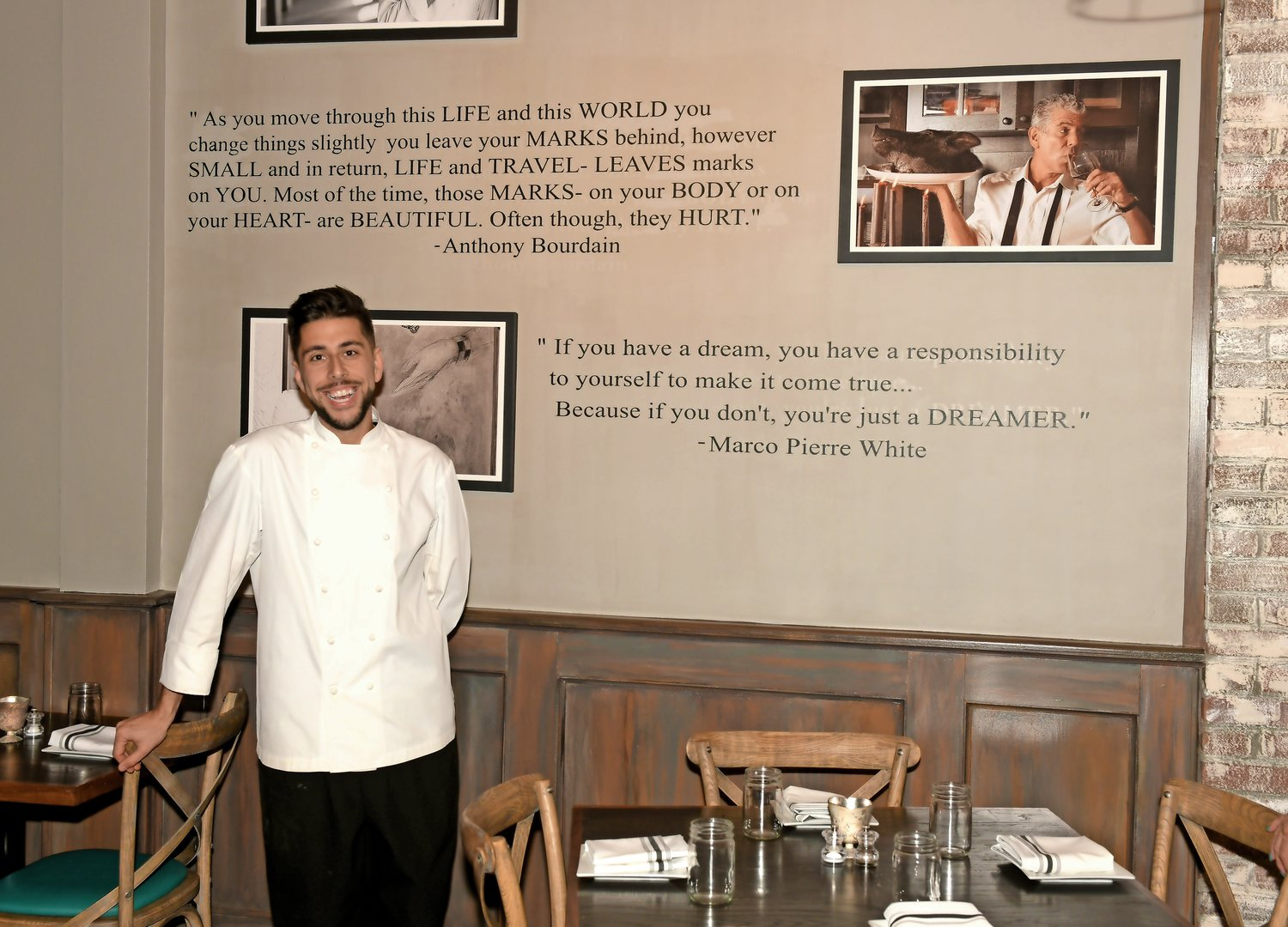 Robert Occhipinti has a wall in his restaurant dedicated to some of his inspirations — Massimo Bottura, Anthony Bourdain and Marco Pierre White.