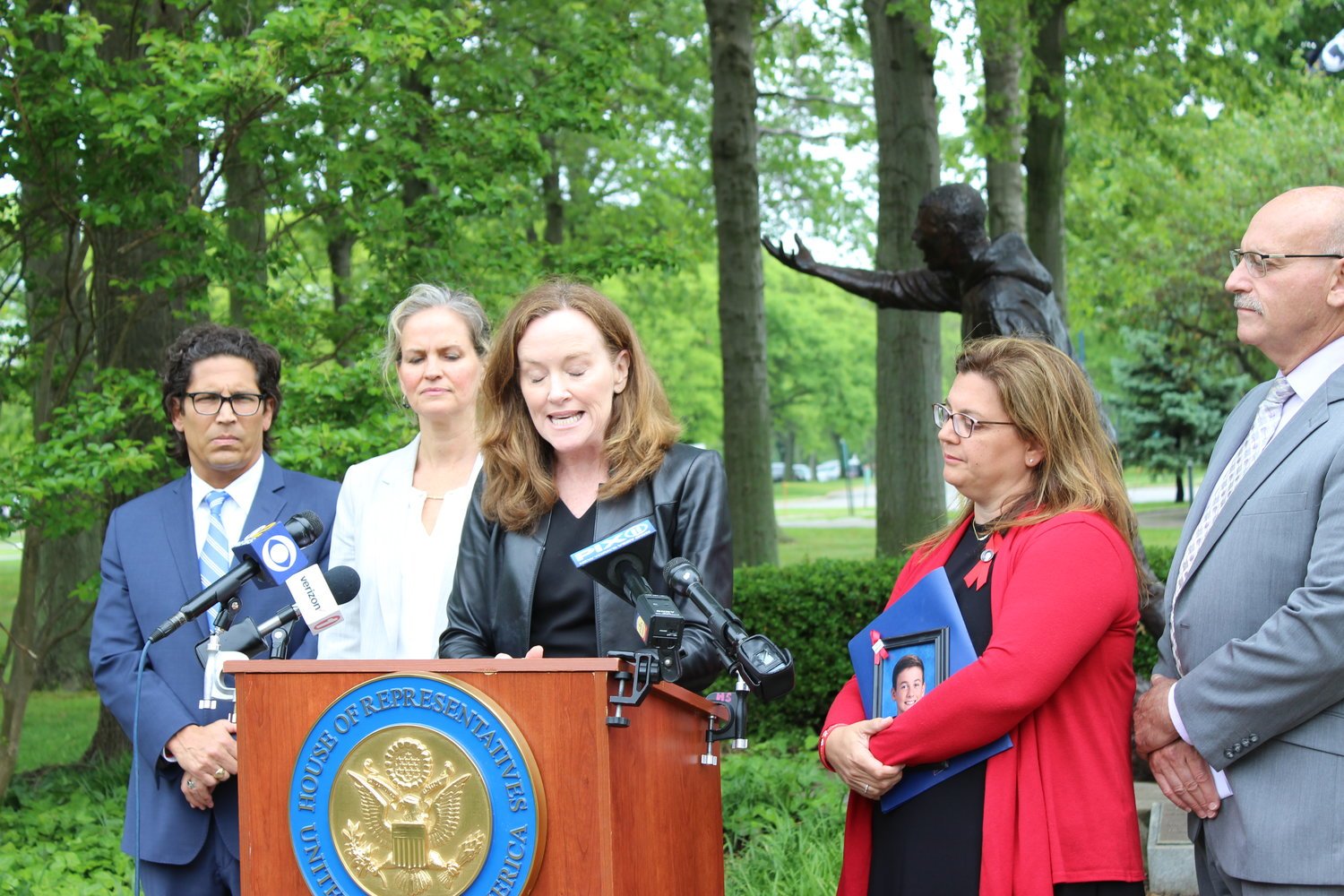Rep. Kathleen Rice introduced three bills to combat impaired and distracted driving on May 30 at Eisenhower Park. She was with Steve Chassman, the executive director of Long Island Council on Alcoholism & Drug Dependence, Nassau County Executive Laura Curran, Alisa McMorris, of Wading River, and Richard Mallow, the executive director of Mothers Against Drunk Driving.