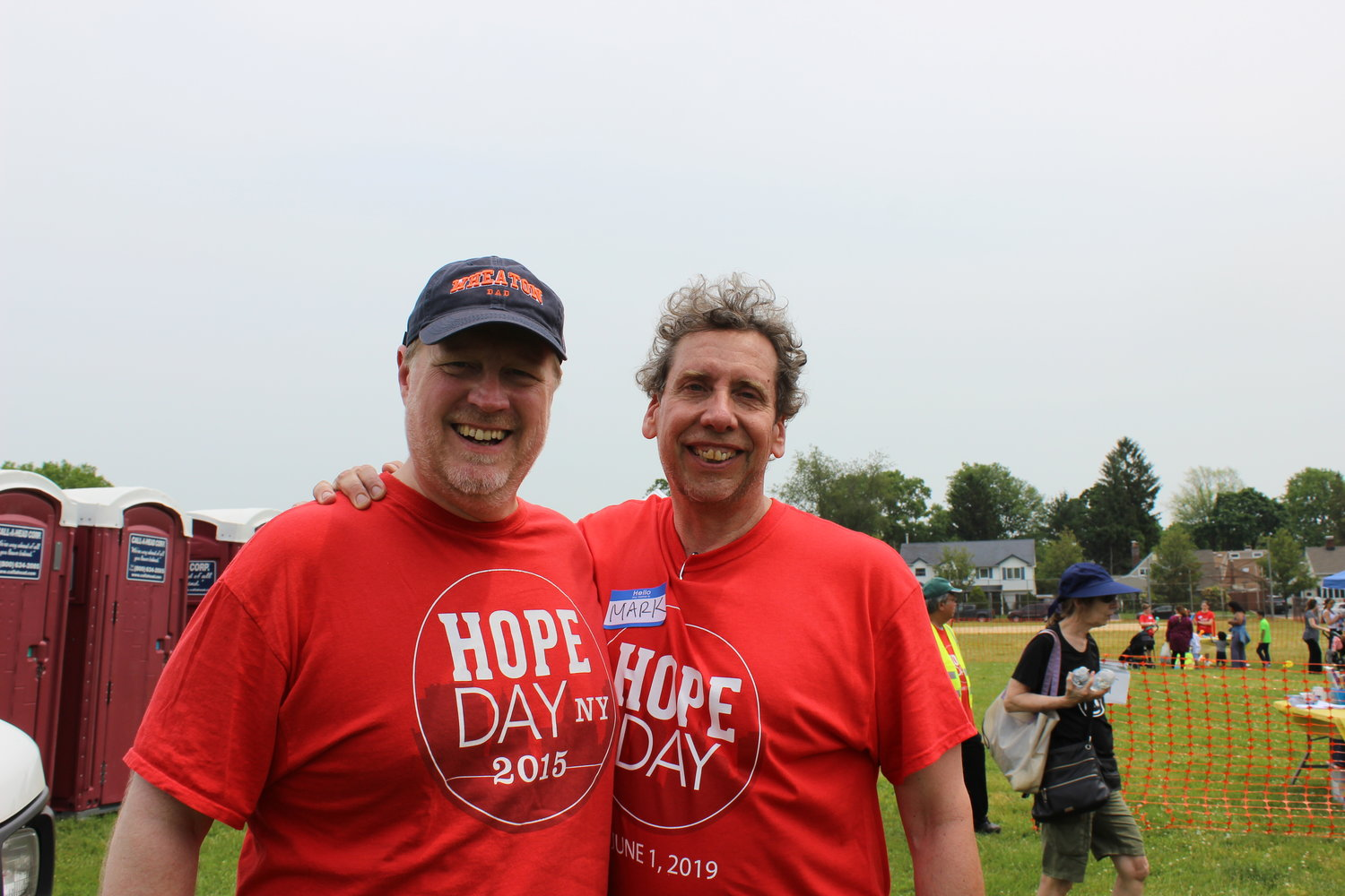 Pastor Dan Olson, of New Hope Church, left, led the event with help from Mark Bevilacque, of Shelter Rock Church.