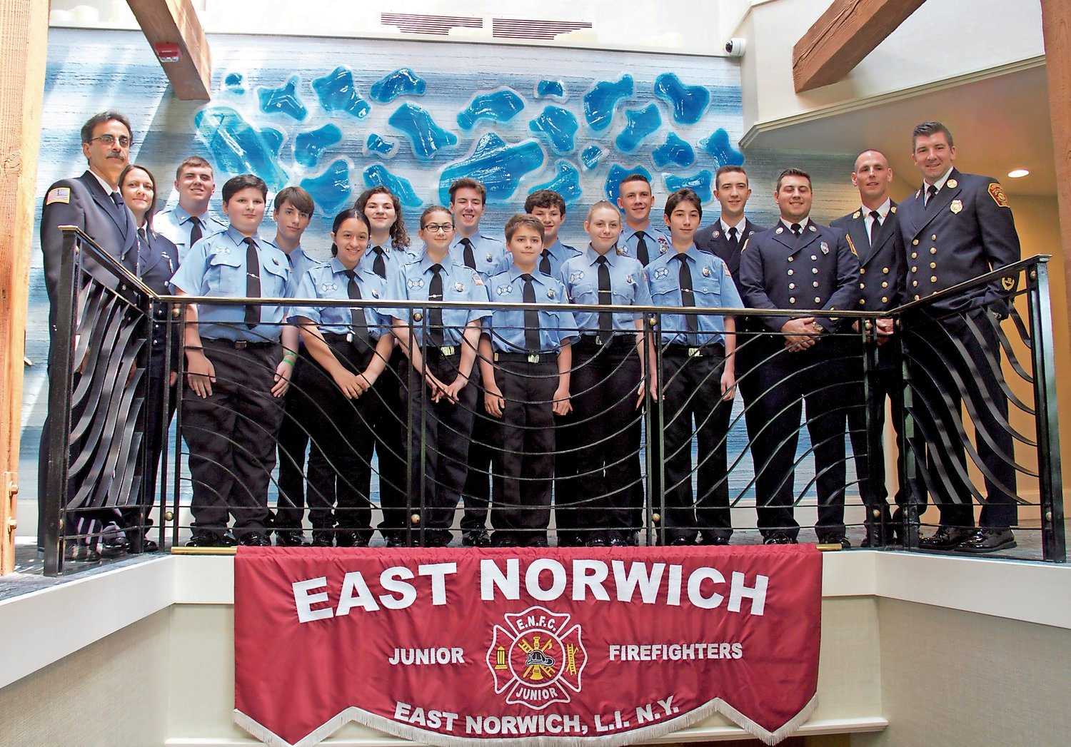 Officers of the East Norwich Fire Department with the newly installed juniors at the Crescent Beach Club last Saturday.