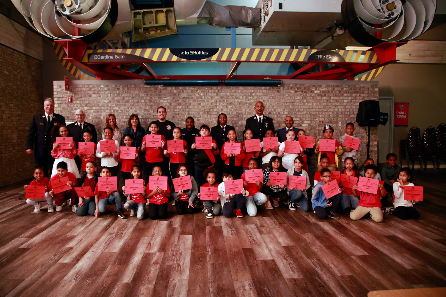 Freeport Fire Department presented Bayview Avenue School's third-graders who scored 100 percent on the Junior Fire Marshal Quiz with certificates.