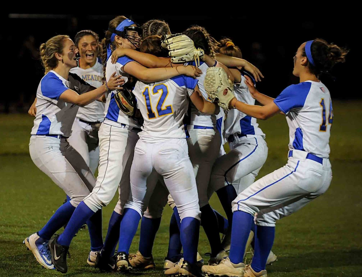 East Meadow celebrated a third straight Long Island Class AA championship on Friday night after cruising past Commack, 10-0.