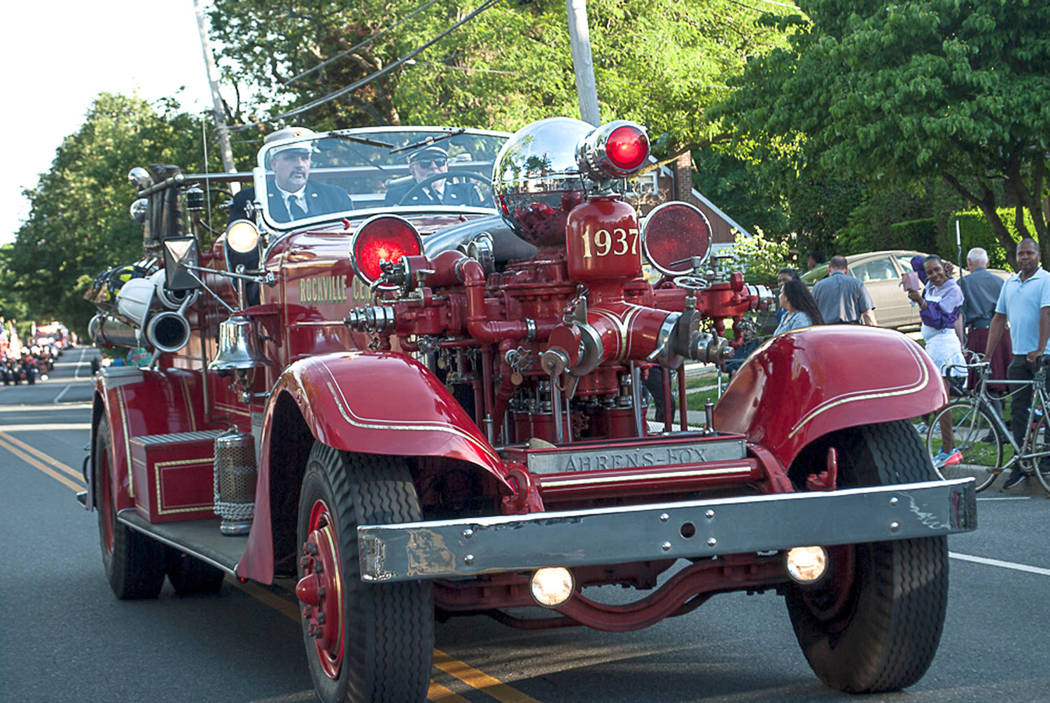 The Rockville Centre Fire Department featured a vintage truck at the parade.