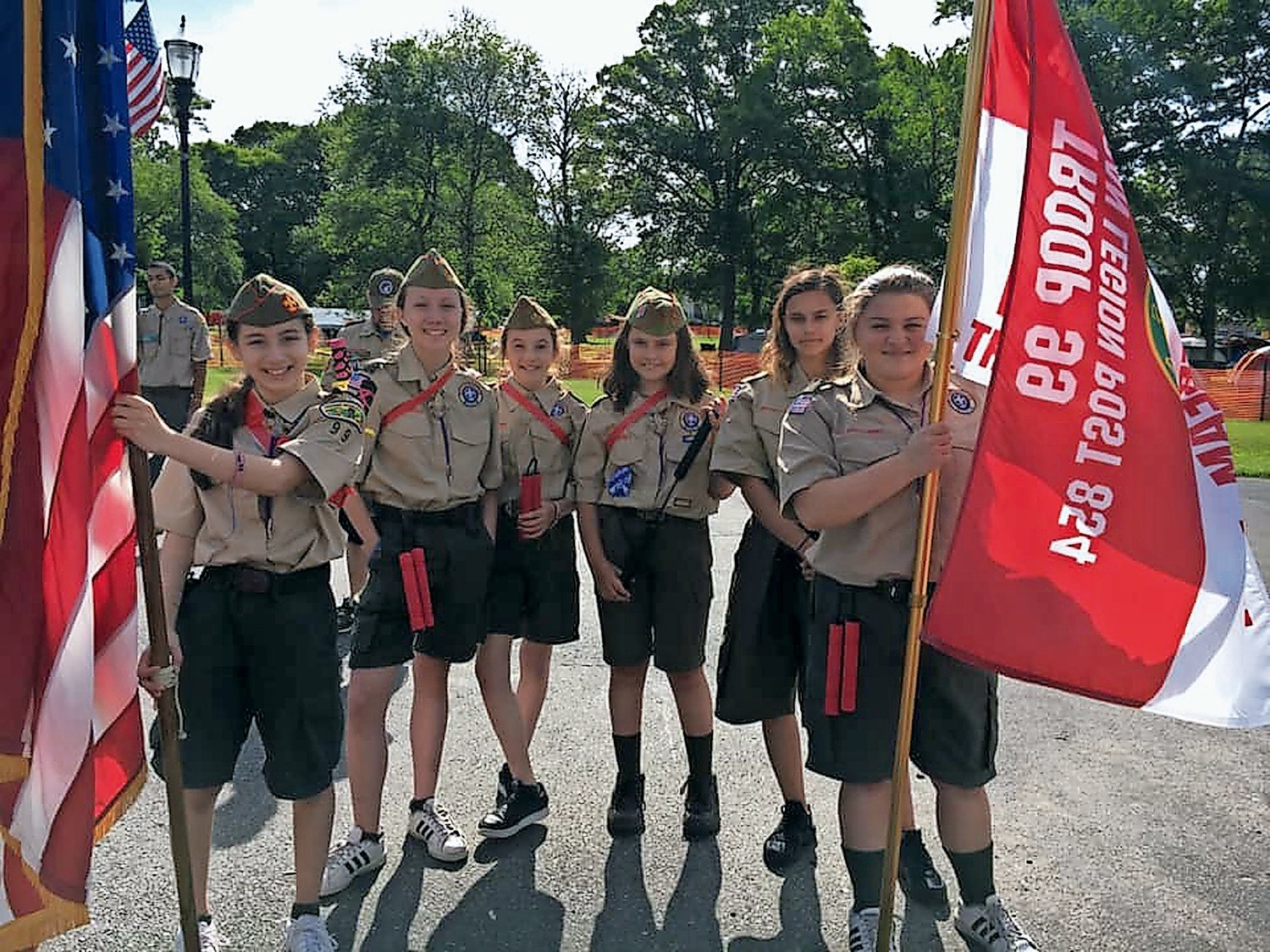 Olivia Donato, far left, Gabriella Burke, Nina Munafo, Rebecca Sult, Madison Kaminsky and Blair Gra-ham at their first village Camporee as members of Scouts BSA Troop 99.