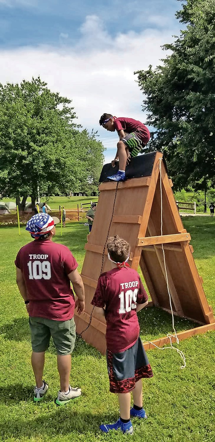 Members of Troop 109 participated in the obstacle course.