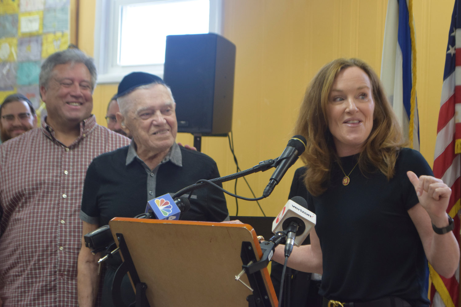 Holocaust survivor Marvin Jacobs, center, was honored by the Gural JCC on June 6. With him were his son, David Jacobs, and U.S. Rep. Kathleen Rice.