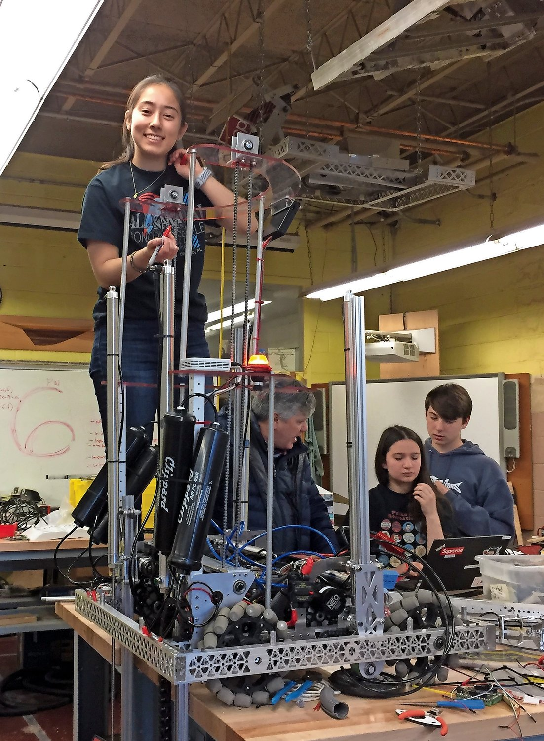 Hanah Leventhal is the president of North Shore High School's FIRST Robotics Team, RoboGym.