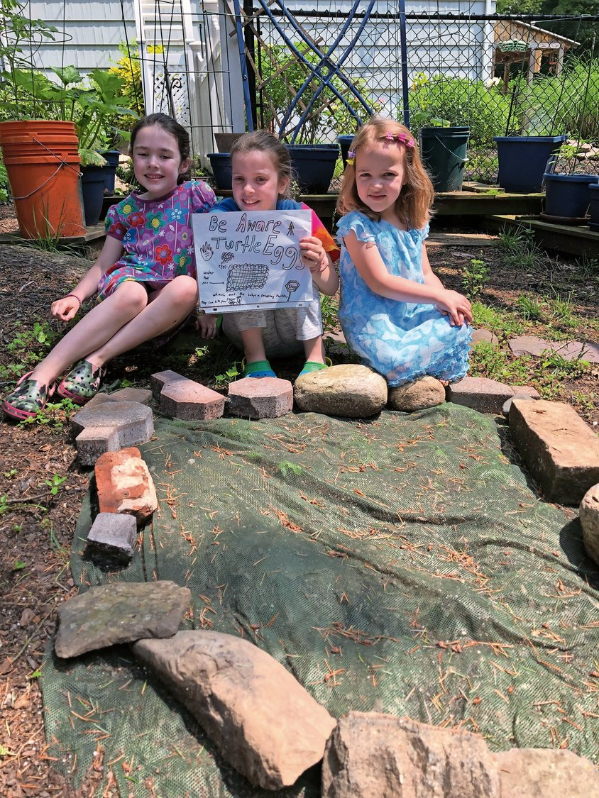 The Reidy children — Julia, 7, Anna, 9, and Maura, 5 — made a sign to protect the turtle nest in their side yard.