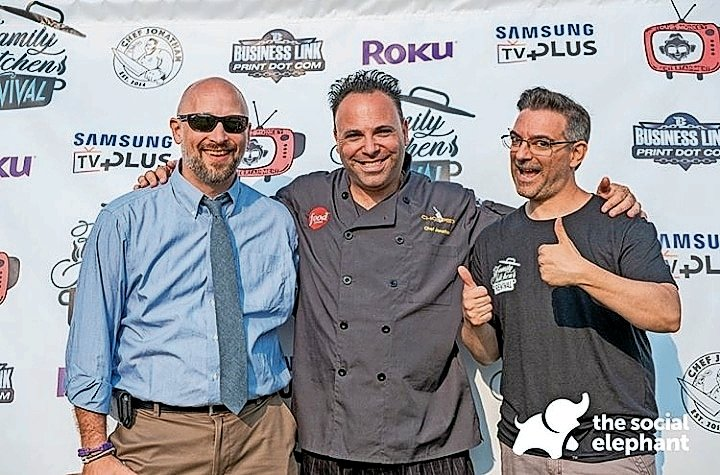 "Joe Kane, far left, Chef Jonathan and Sal Conca, the team behind ""Family Kitchen Revival,"" appeared at the Strawberry Festival in Bellmore."