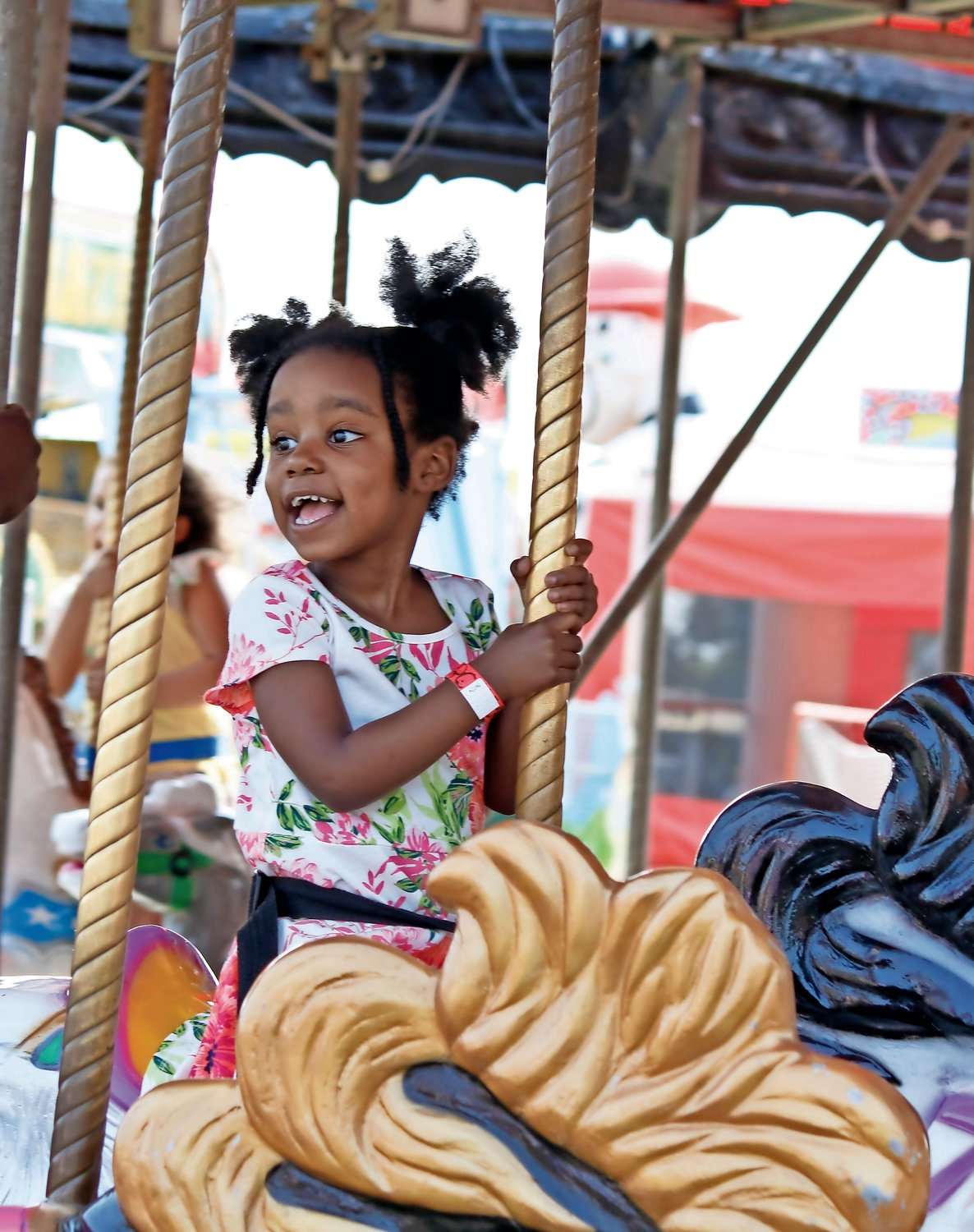 Iyana Reed, 4, enjoyed her time on the carousel.