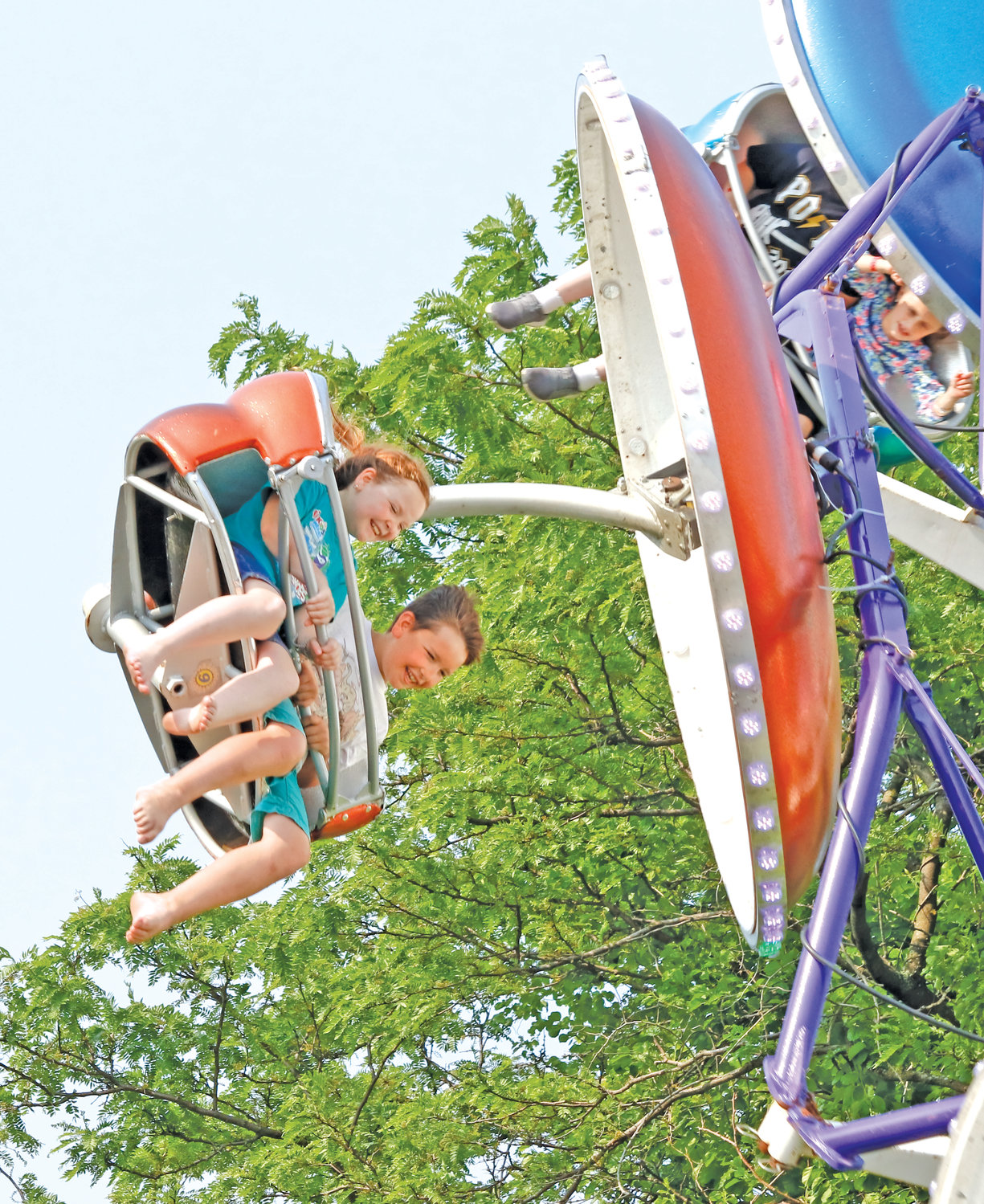 The Paratrooper ride gave Madeline Piper, 9, and Aiden Piper, 8, a great view of the festival.