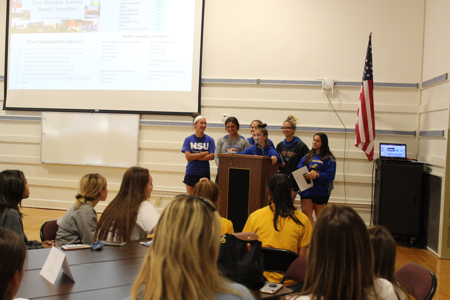 Members of the East Meadow High School softball team were among many in the room who spoke in favor of synthetic turf.