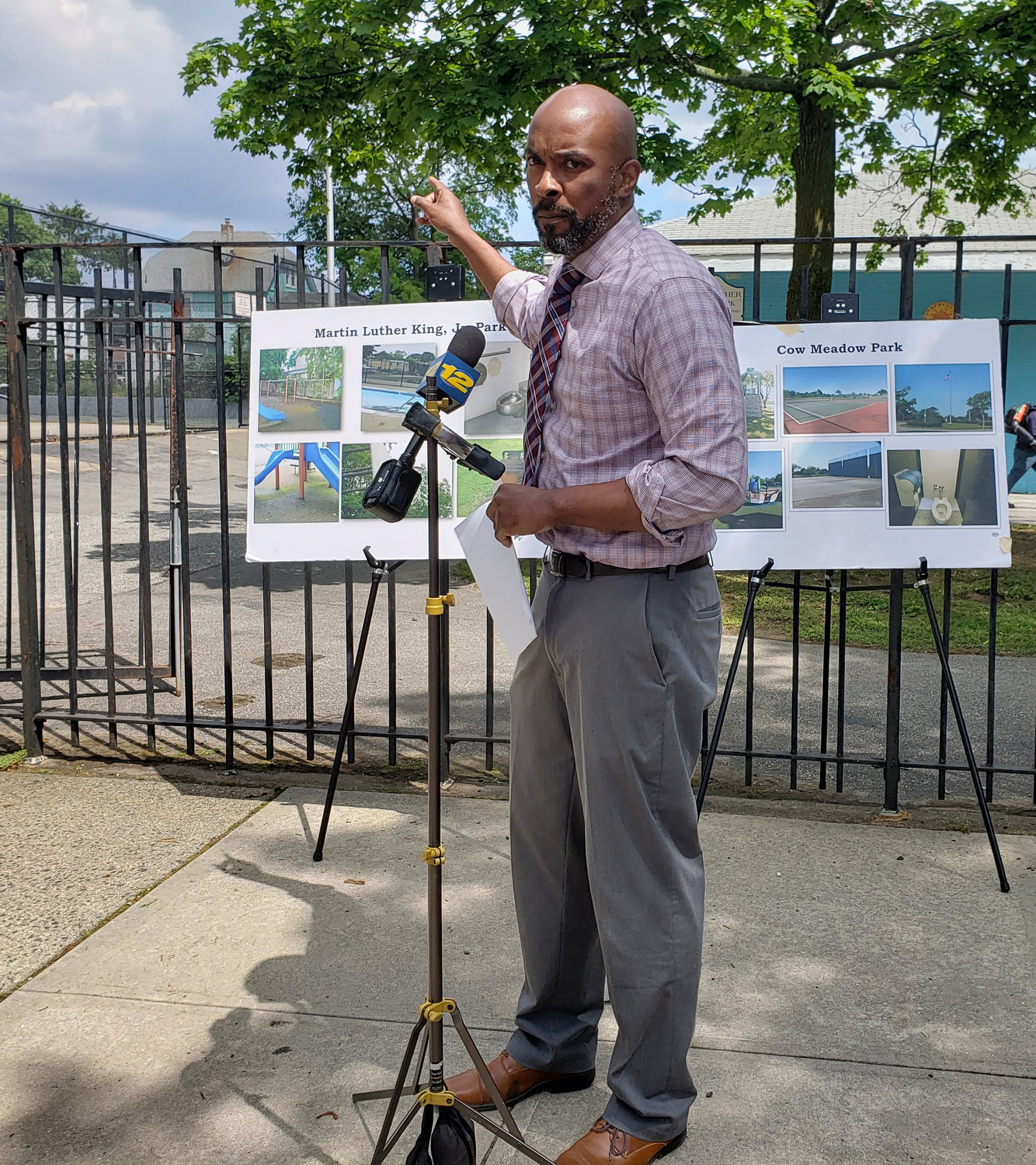 Nassau County Legislator Kevan Abrahams said he would not support the transfer of Cow Meadow Park to Freeport until the village takes better care of its own parks.