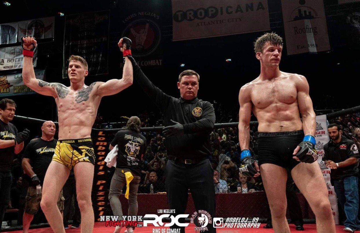 "Charlie ""The Cannibal"" Campbell, left, defeated Cody Zappone in his professional mixed martial arts debut on May 31 at the Tropicana in Atlantic City."
