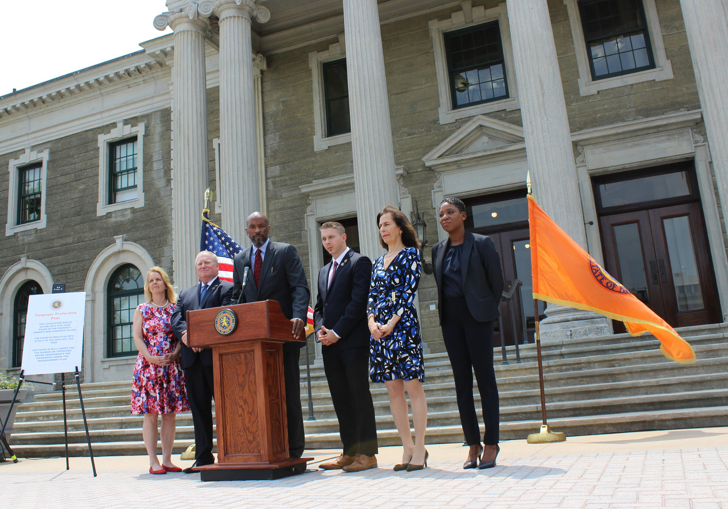 "Nassau County Minority Leader Kevan Abrahams joined with other Democratic lawmakers at a June 5 news conference at which they urged the county Legislature's Republican majority to pass County Executive Laura Curran's ""Taxpayer Protection Plan."""