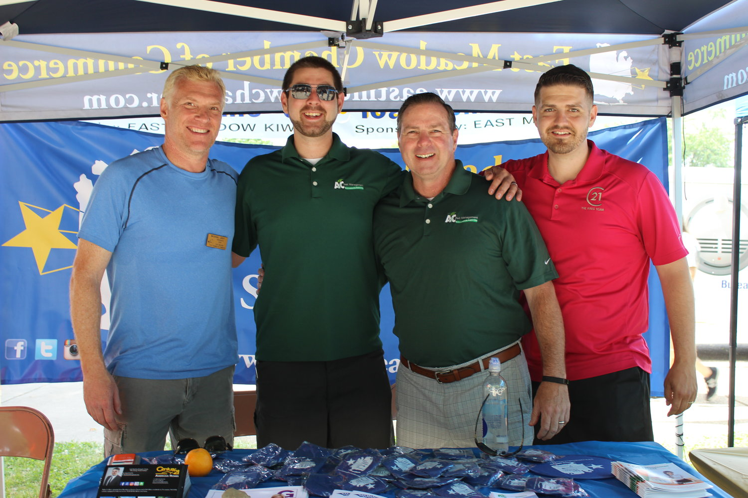 East Meadow Kiwanis and the East Meadow Chamber of Commerce hosted the event for free for the community. Above is Chamber President Michael Levy with James P. Skinner, Jim Skinner and Secretary Richie Krug Jr.
