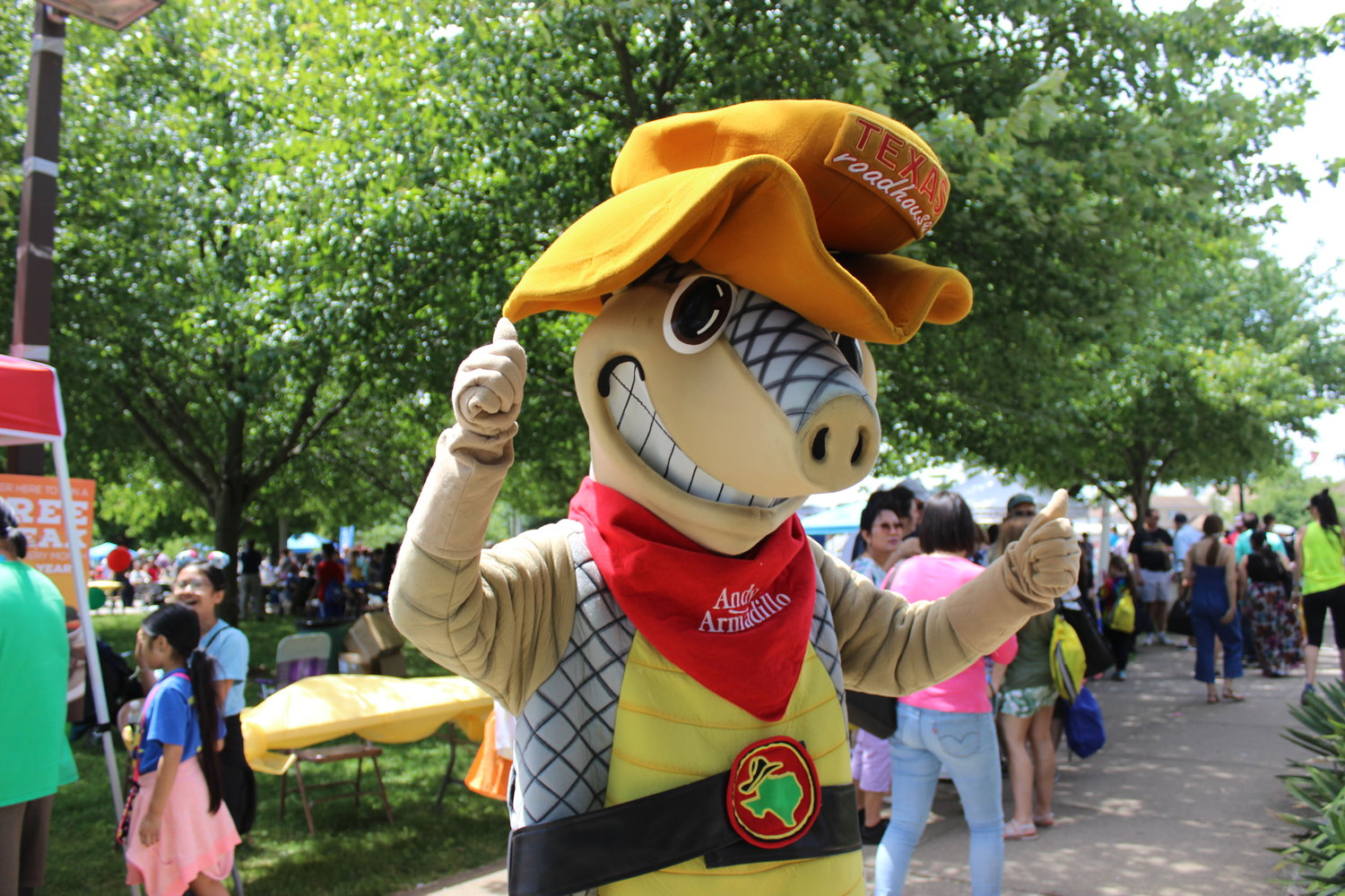 Andy the Armidillo from Texas Roadhouse got involved in the day's festivities.