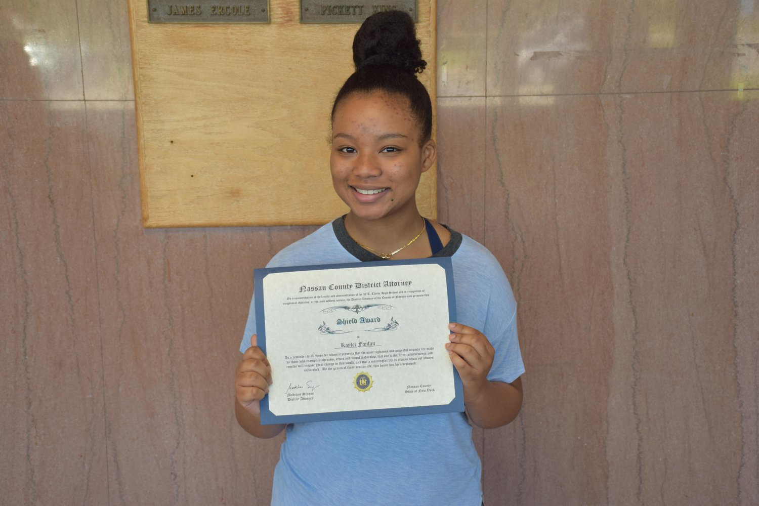 W.T. Clarke High School junior Kaylei Fanfan was recently announced as a recipient of the Nassau County District Attorney's SHIELD Award.