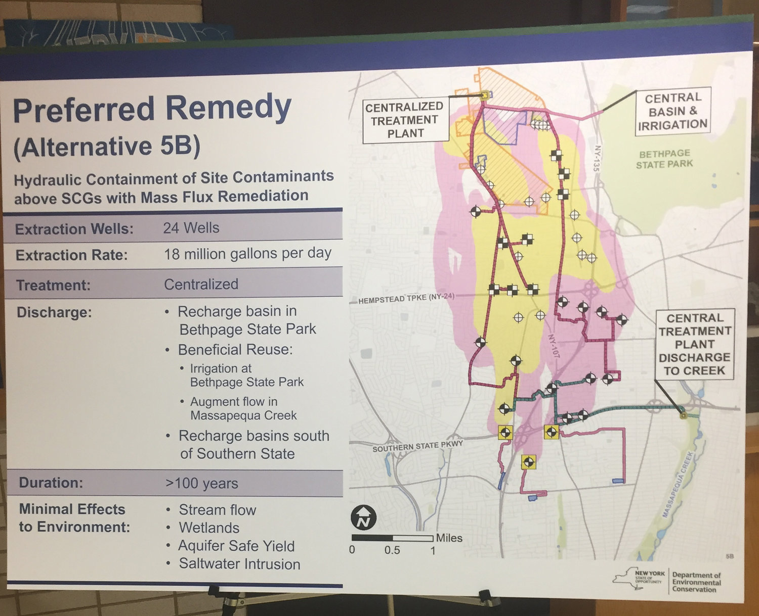 The state Department of Environmental Conservation released a detailed schematic of its plan to contain the Bethpage Plume at a meeting at Bethpage High School on June 11.