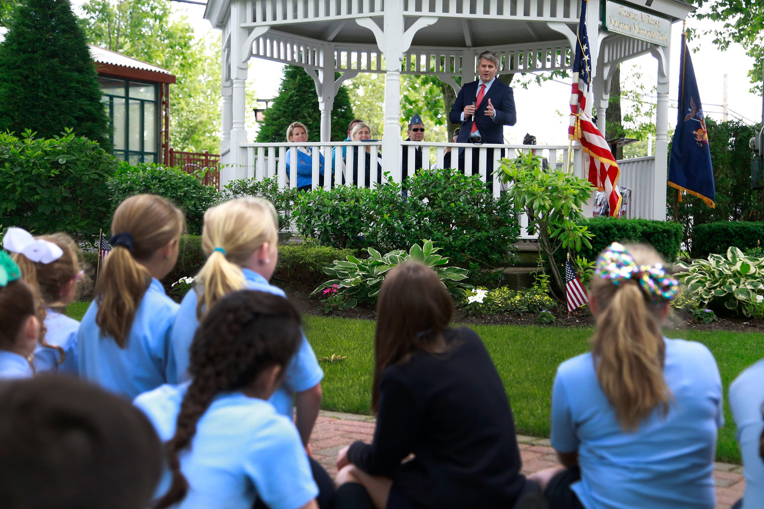 "Malverne Mayor Keith Corbett recognized the students who took part in the village's ""What the Flag Means to Me"" essay contest at Chester A. Reese Veterans Memorial Park on June 14."