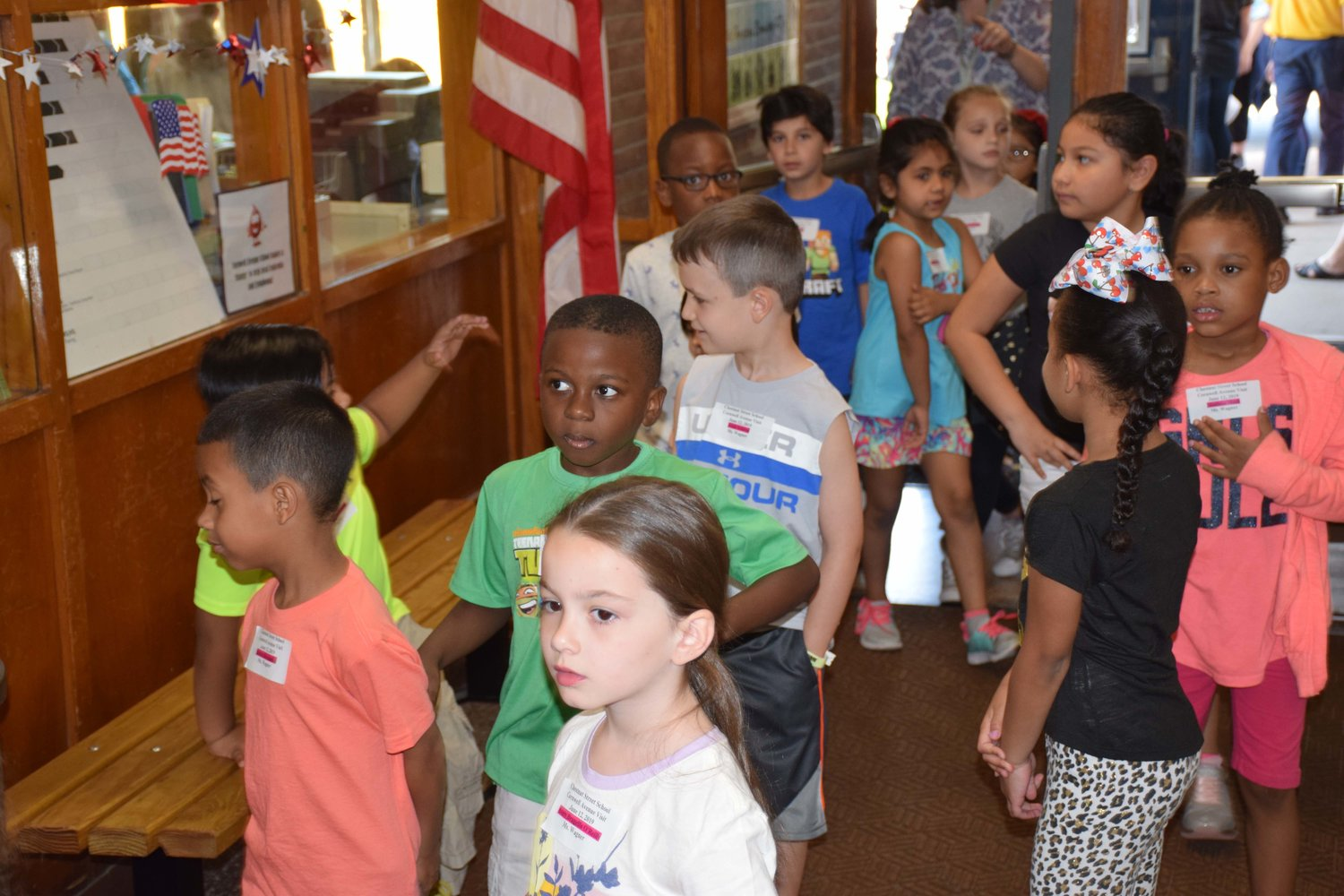 Kindergartners were lined up as they toured Cornwell Avenue for the first time.