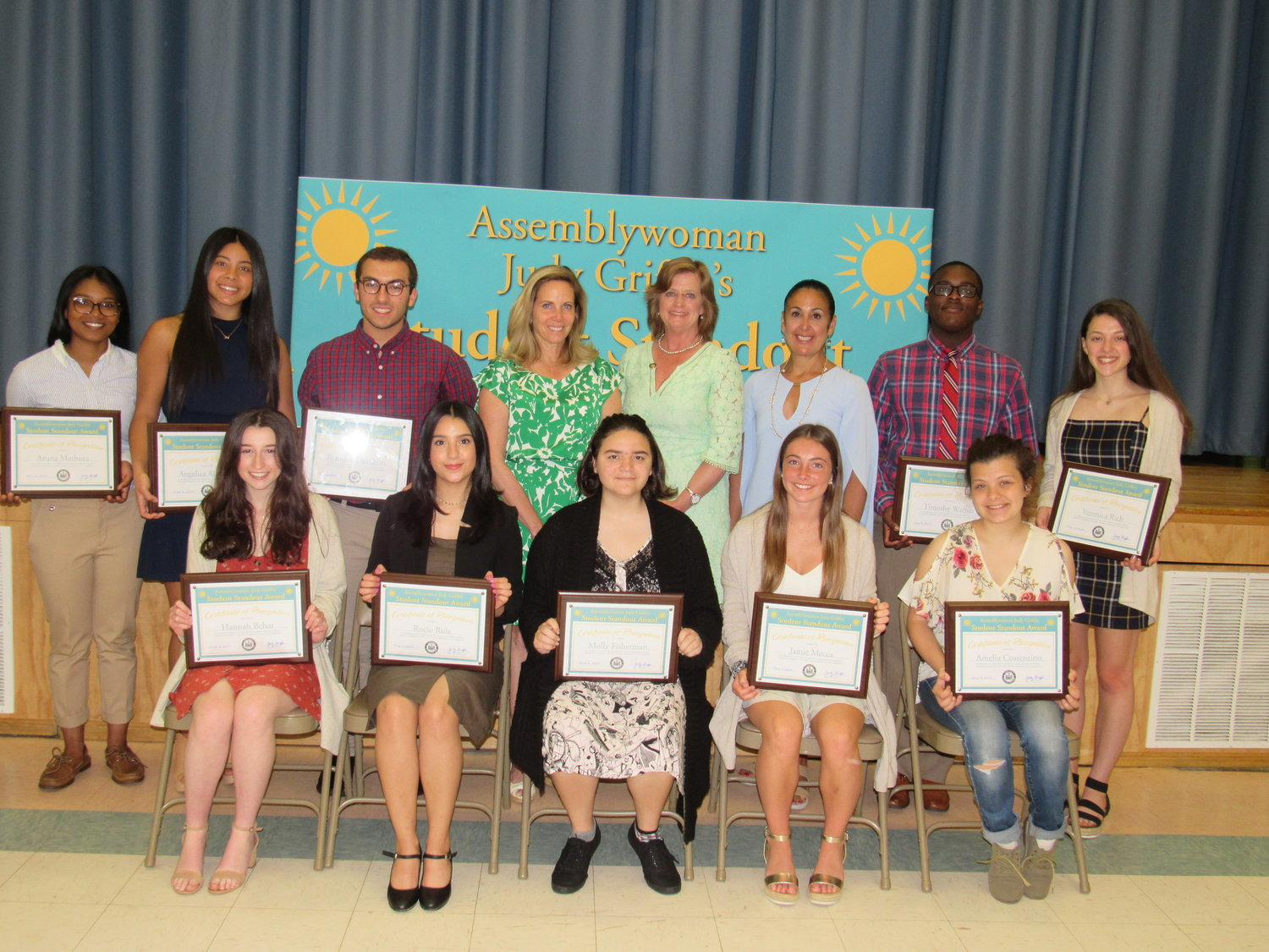 Town Supervisor Laura Gillen, fourth from top left, joined State Assemblywoman Judy Griffin for her inaugural Student Standout Awards ceremony on June 2.