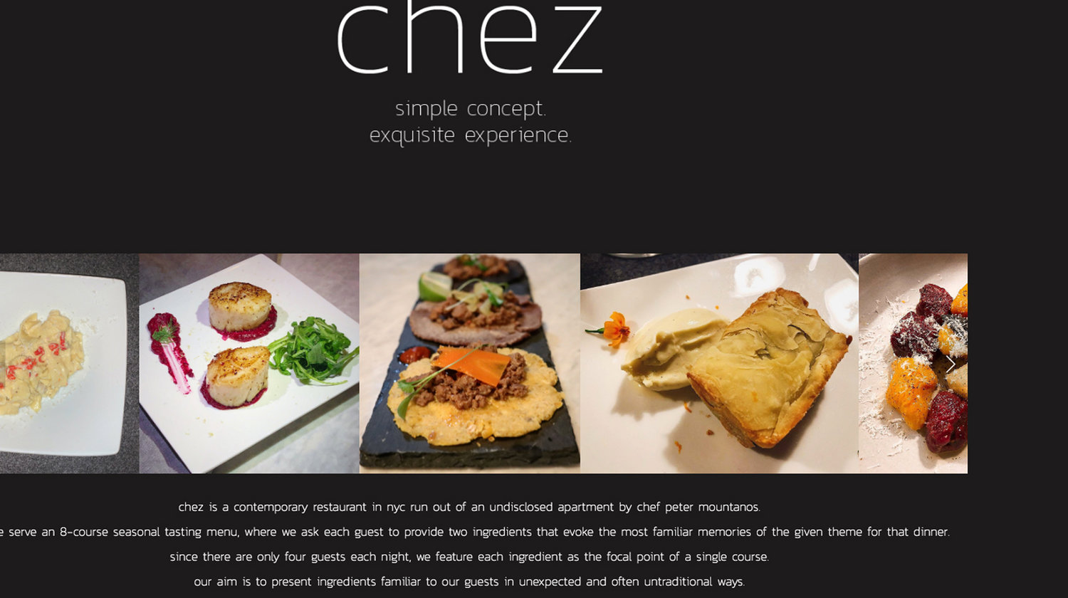 Chez, a part-time business owned by board candidate Peter Mountanos, that operates sporadically out of his New York City apartment.
