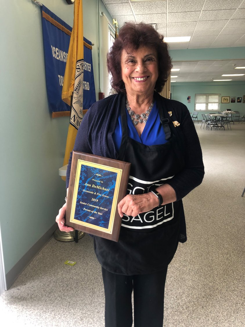 Ann DeMichael was presented with the Senior Community Service Person of the Year Award at the Oceanside Senior Center on Monday.