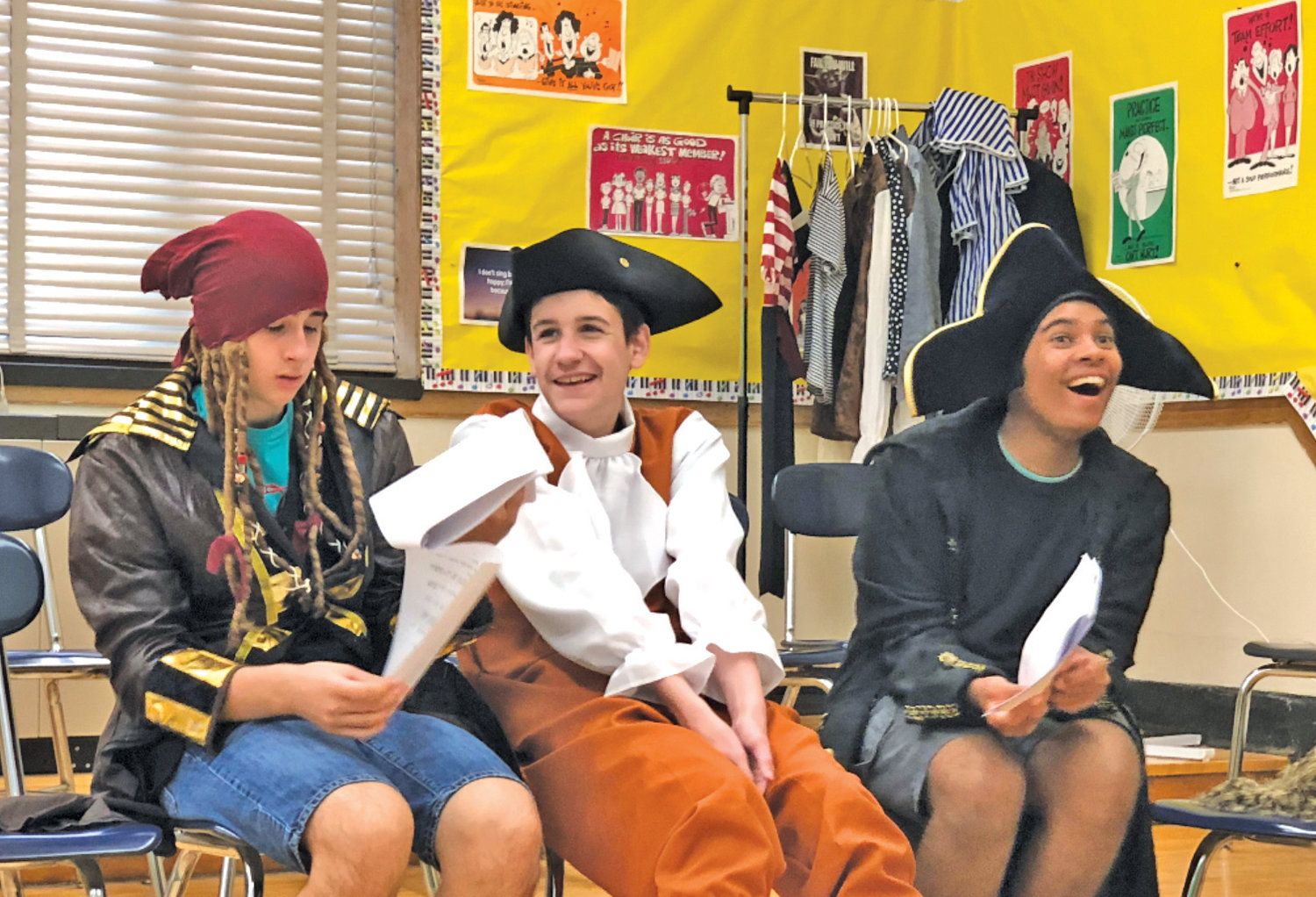 "Students Andrew, Gavin and Johnathan were decked-out in pirate garb for ""How I Became a Treasure Island Pirate."""